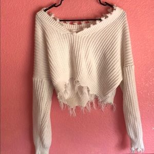 Sweaters - White distressed sweater
